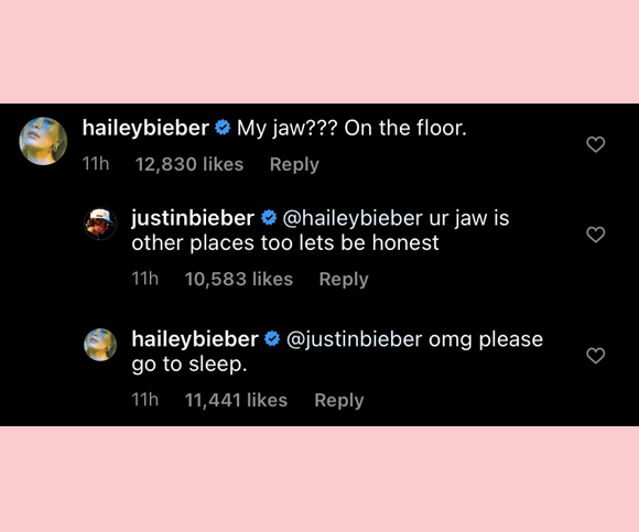 justin and hailey bieber IG comments