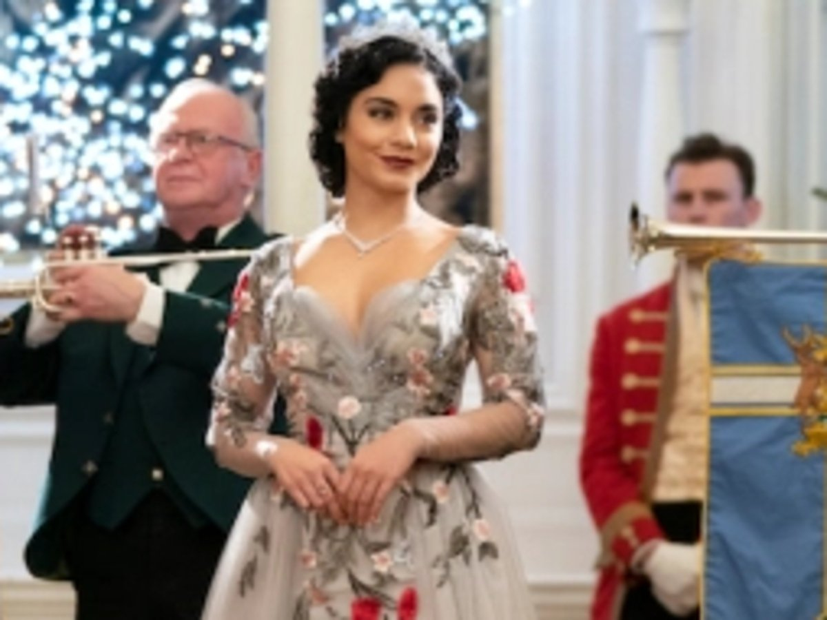 Vanessa Hudgens Wore This Mac Duggal Embroidered Trumpet Gown In Princess Switch: Switched Again And It's On Sale