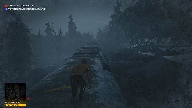 Ian Hitman is crouched on top of an icy train moving through a dark forested landscape, in the Carpathian Mountains level - the final of the trilogy.