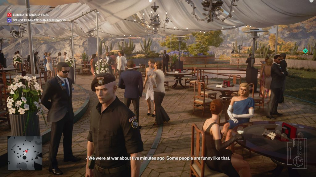 A screenshot of Agent 47 walking discreetly around a garden party at a vineyard. It is very sunny and elegant.