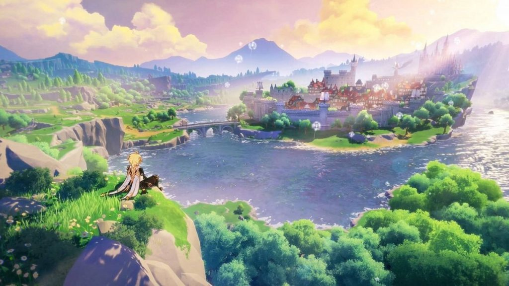 An image from Genshin Impact, showing one of the protagonists looking over a landscape.