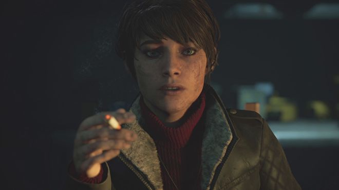 A screenshot of Mariane, the medium from The Medium. She's a young white woman with short dark hair, and is smoking a cigarette and covered in dirt.