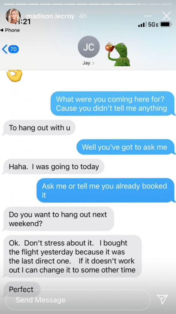 Madison LeCroy brought the receipts, shows off old Jay Cutler text messages!