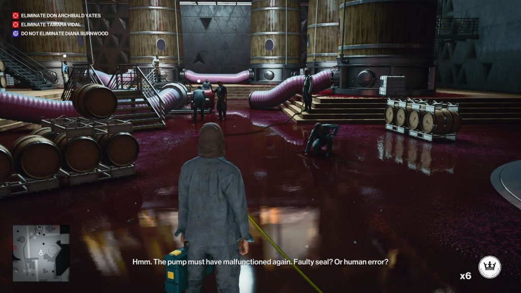 Agent 47 stands in a wine cellar where one of the wine vats has leaked all over the floor, drawing a small crowd of workers