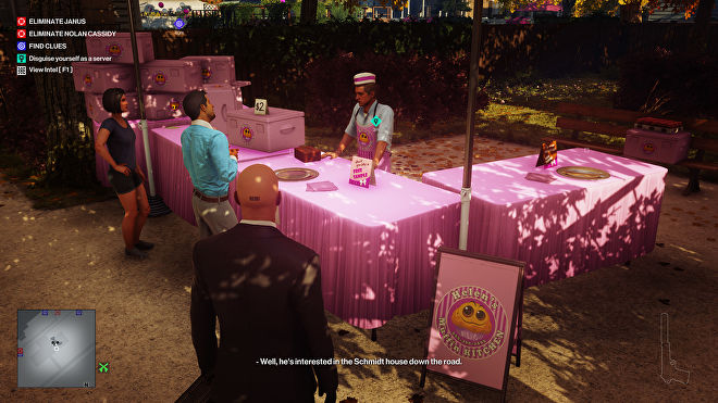 Ian Hitman stands looking at a muffin stall in the Whittleton Creek level. He is probably going to poison a muffin.