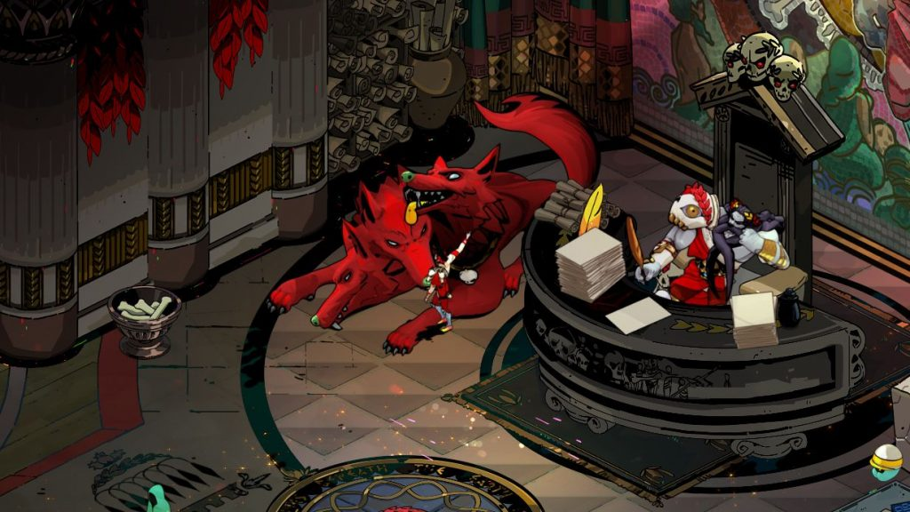 A screenshot from Hades showing Zagreus petting Cerberus the big red (three-headed) dog