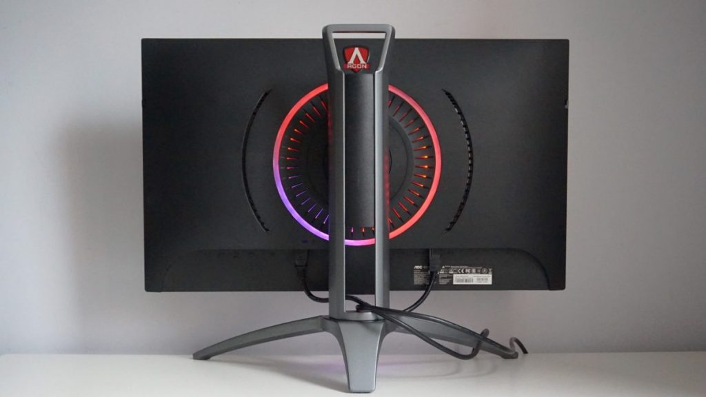 A photo showing the rear of the AOC Agon AG273QZ gaming monitor