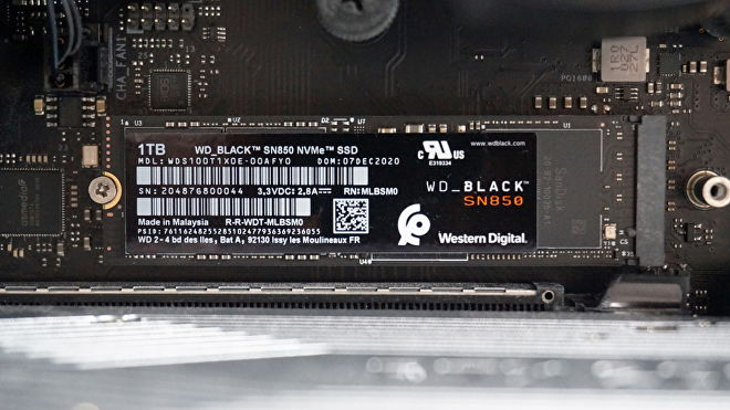 A photo of the WD Black SN850 NVMe SSD.