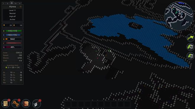 An Ultimate ADOM - Caverns Of Chaos screenshot showing the ASCII view.