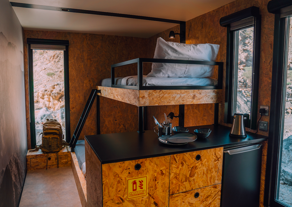 Bunk beds: The cabins fit three people and provide basic equipment