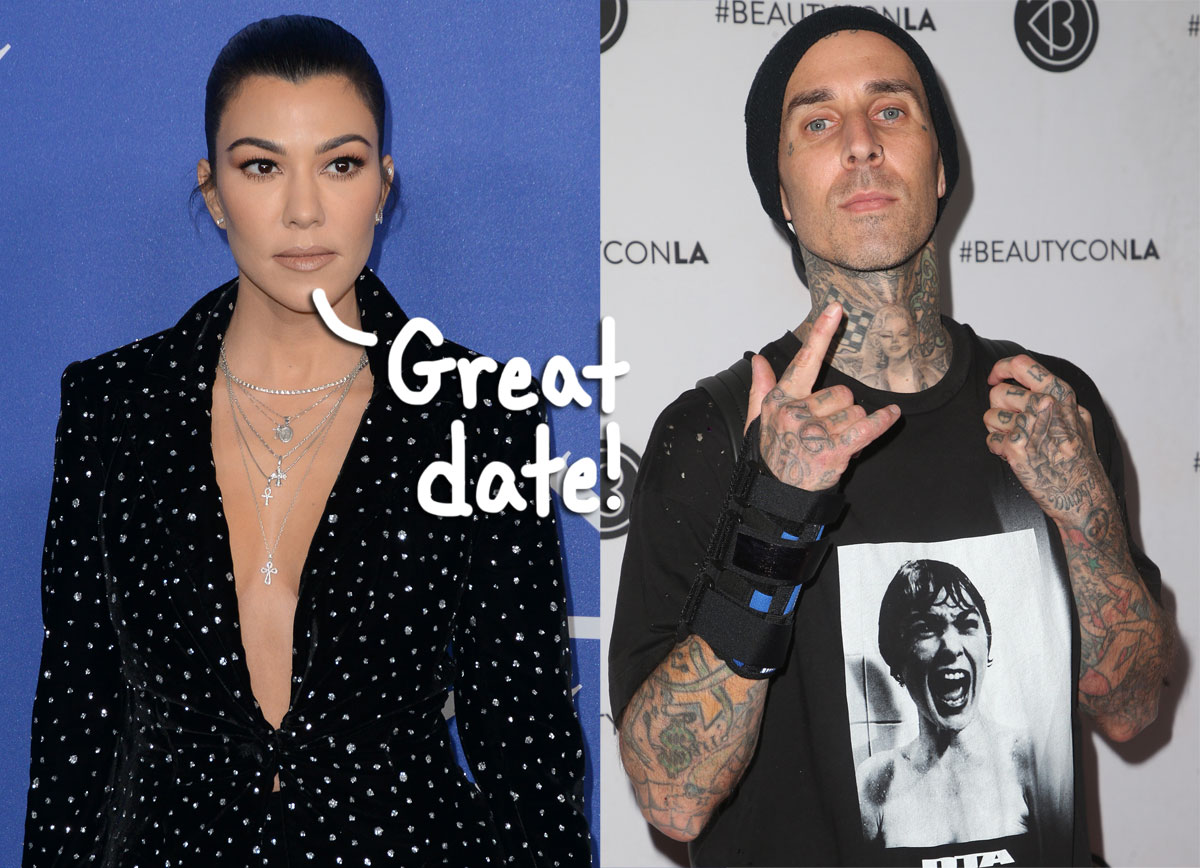 Kourtney Kardashian & Travis Barker Show Off Cute PDA During Date Night Dinner In Los Angeles!