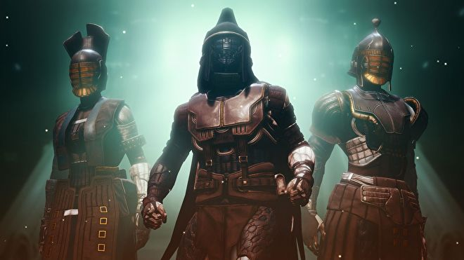 Guardians geared up in Destiny 2: Season of the Chosen's Praefectus armour sets.