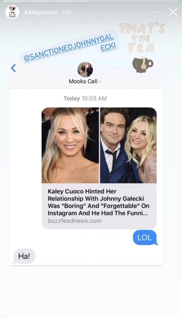 ICYMI: Kaley Cuoco's Ex Johnny Galecki Responds To Her Calling Her Life Before Husband 'Boring'
