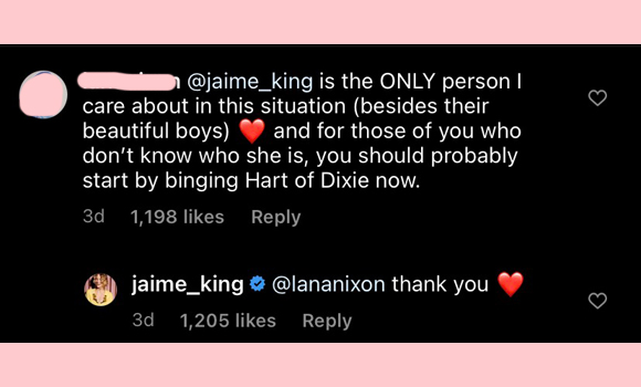 jaime king : thank you instagram comment
