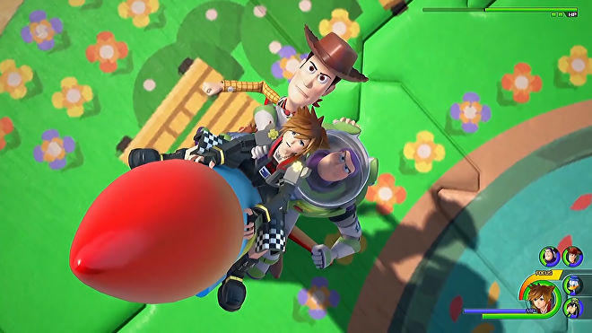 A screenshot from Kingdom Hearts 3 that shows Sora, and Toy Story's Woody and Buzz Lightyear, riding a rocket