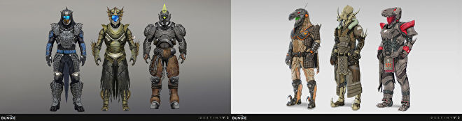 Concept art for monster and dinosaur costumes in Destiny 2.
