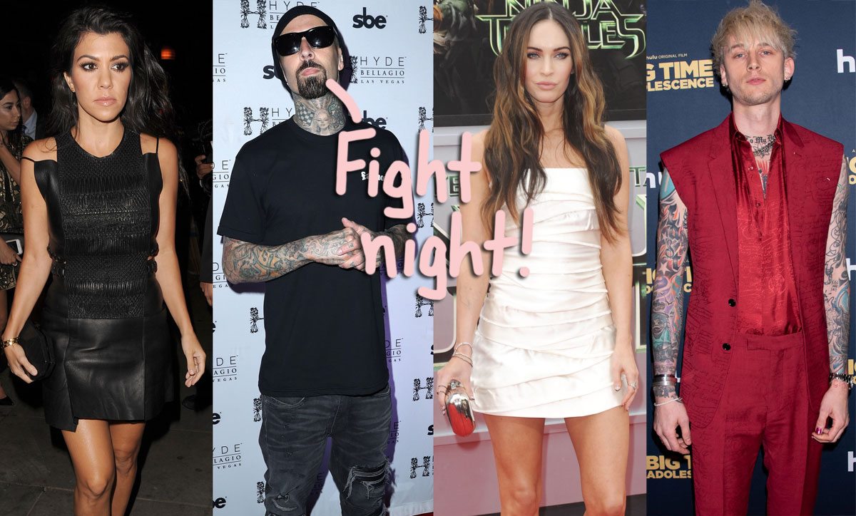 Kourtney Kardashian & Travis Barker Join Megan Fox & Machine Gun Kelly Ringside For UFC Fight Double Date!