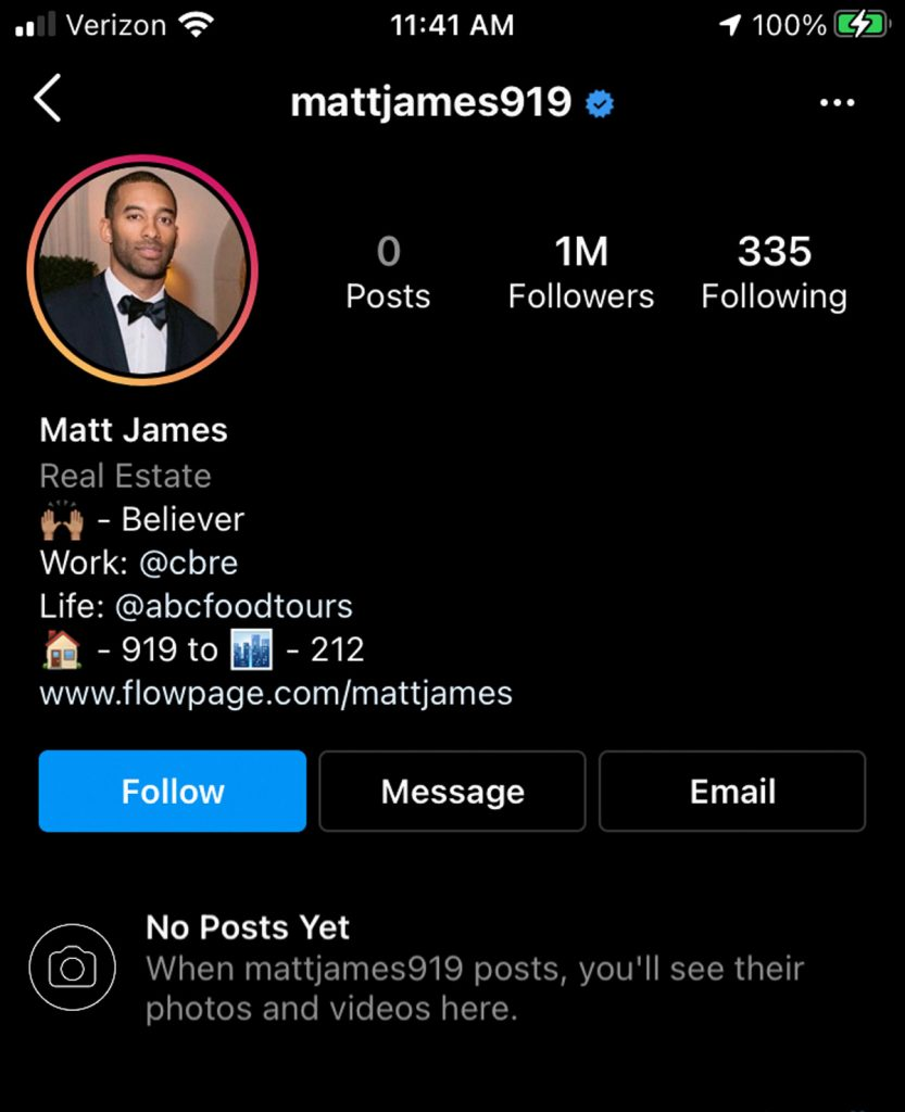 The Bachelor's Matt James has deleted all of his Instagram posts!