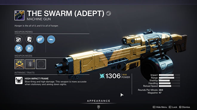 A bad Adept roll of Destiny 2 machinegun The Swarm.