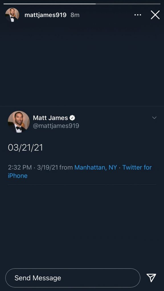Now Matt James is doing a cryptic Instagram countdown to Sunday! What happens Sunday??