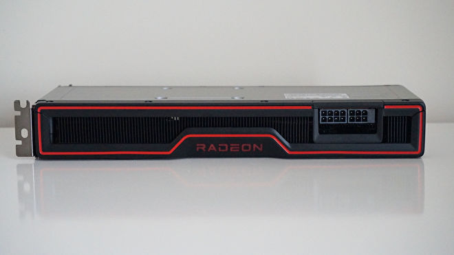 AMD's Radeon RX 6700 XT graphics card from the side, showing its 8 and 6-pin power connectors