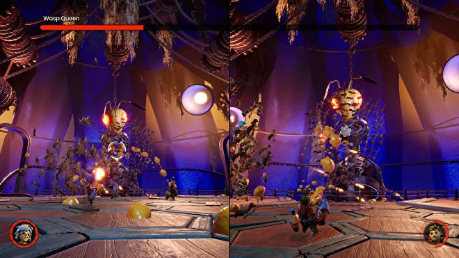 A split screen boss fight in It Takes Too, against a giant robotic wasp queen. On the right side, Cody is firing yellow blobs of nectar at a swarm of wasps. On the right side, May is aiming a match and preparing to fire to ignite the nectar.