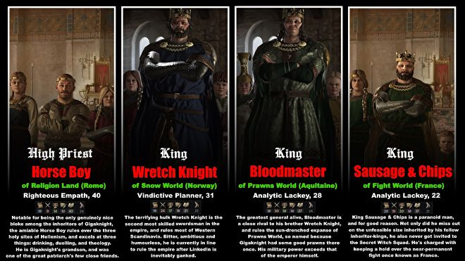 Portraits and flavour text for four of Gigaknight's descendants.