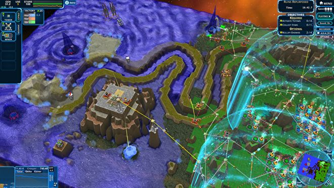 A screenshot of Creeper World 4 in which a heavily defended base is on the right hand side, and to the left is a sea of creeper, some of which is winding through maze-like terrain.