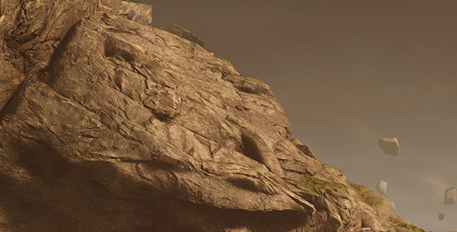 A close-up of a rocky outcrop in Outriders, at 4K Ultra settings with DLSS Quality enabled