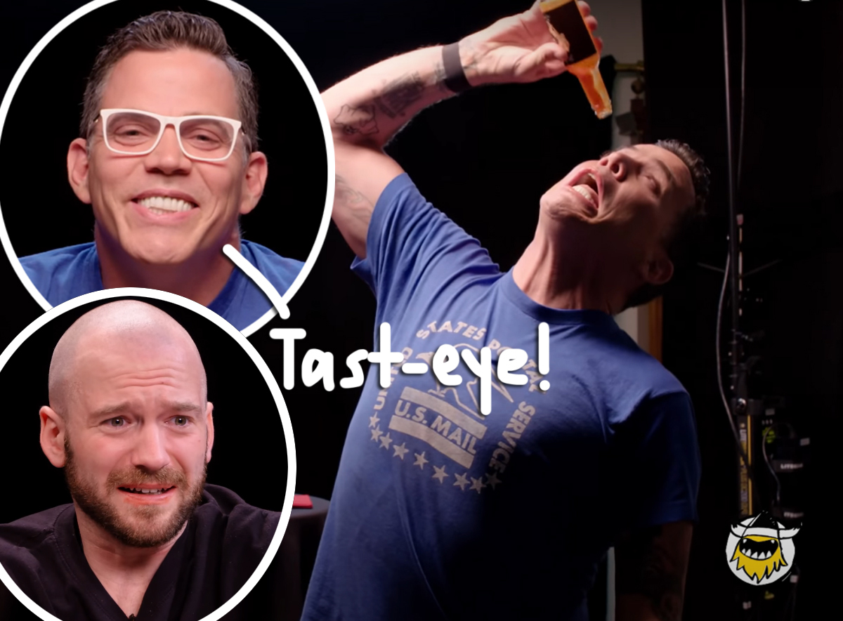 Watch Steve-O Pour Hot Sauce RIGHT IN HIS EYE During Wild Hot Ones Interview!