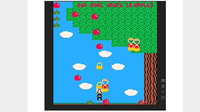 Them Apples, a free pico-8 game where the player must hurl baskets at apples falling from a tree to save them from rotting on the ground.