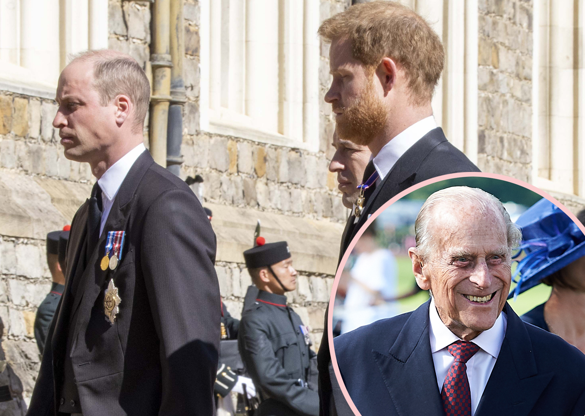 Prince Harry Speaks To Prince William While Exiting Prince Philip's Funeral