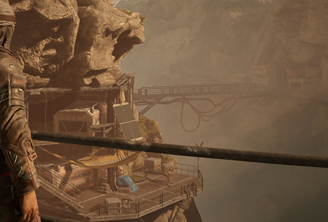 A close-up of an industrial lookout point in a rocky valley in Outriders, at 4K Ultra settings (native)