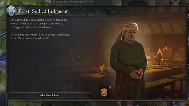 A very disgruntled-looking medieval man against the backdrop of a feast hall, with flavour text explaining the drunken letting-slip of a terrible secret,