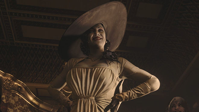 Lady Dimitrescu looms large in a Resident Evil Village screenshot.